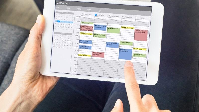 calendário para lidar com clientes